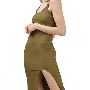 Topshop Scoop Neck Midi Olive Dress